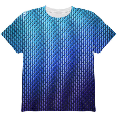 Halloween Blue Ice Dragon Scales Costume All Over Youth T Shirt