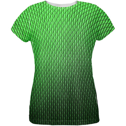 Halloween Green Earth Dragon Scales Costume All Over Womens T Shirt