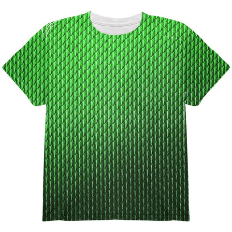 Halloween Green Earth Dragon Scales Costume All Over Youth T Shirt
