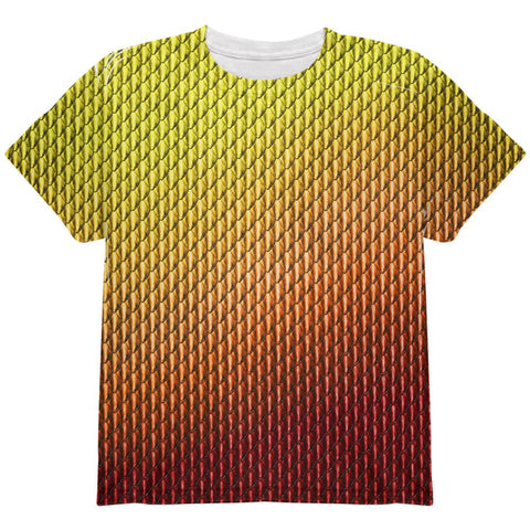 Halloween Red Fire Dragon Scales Costume All Over Youth T Shirt
