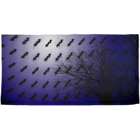 Halloween Bats in the Full Moon Light All Over Beach Towel
