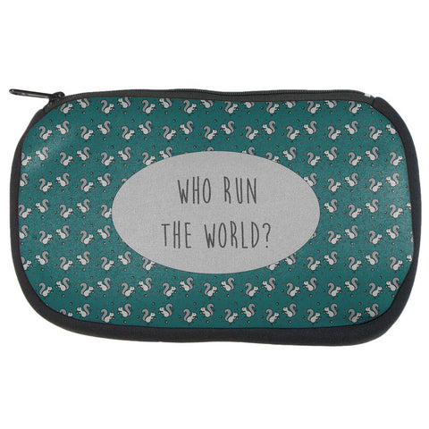 Autumn Squirrels Who Run the World Pattern Makeup Bag