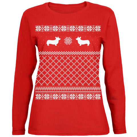 Corgi Ugly Christmas Sweater Womens Long Sleeve T Shirt