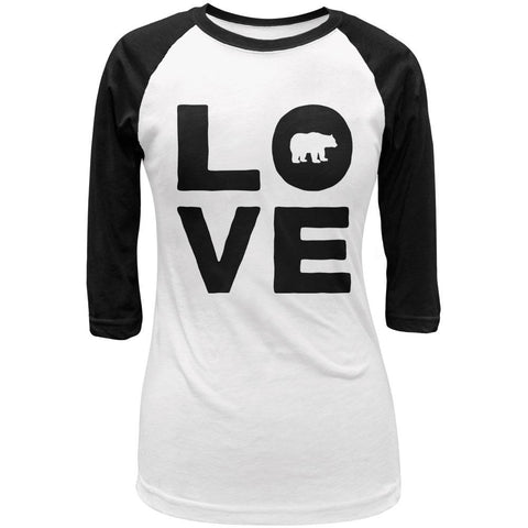 Autumn Bear Love Juniors 3/4 Sleeve Raglan T Shirt