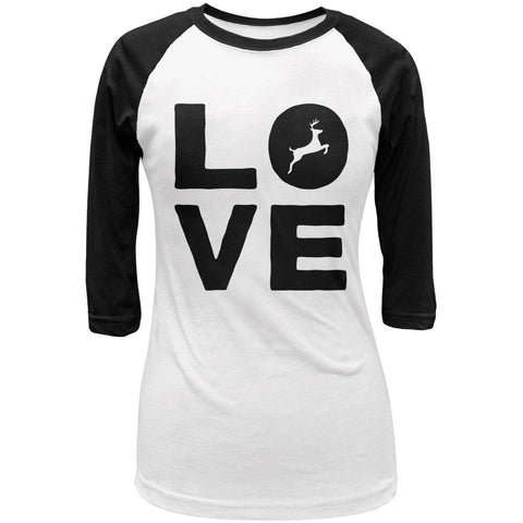 Autumn Deer Love Juniors 3/4 Sleeve Raglan T Shirt