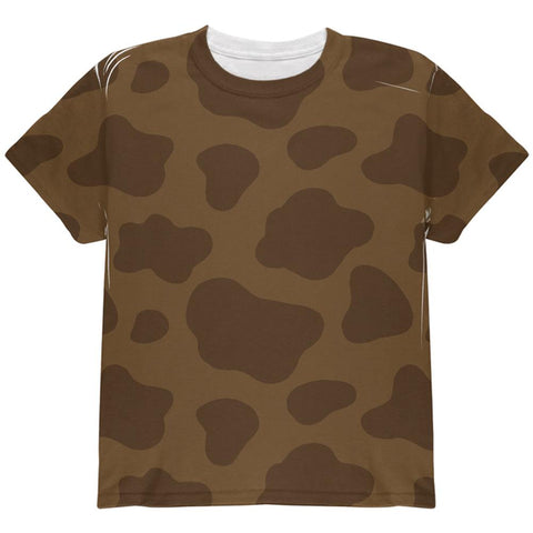 Halloween Brown Chocolate Milk Cow Costume All Over Youth T Shirt