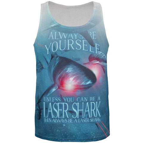 Always Be Yourself Unless Laser Shark All Over Mens Tank Top