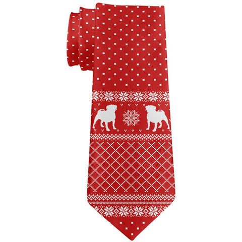 Ugly Christmas Sweater Pug Puppy All Over Neck Tie