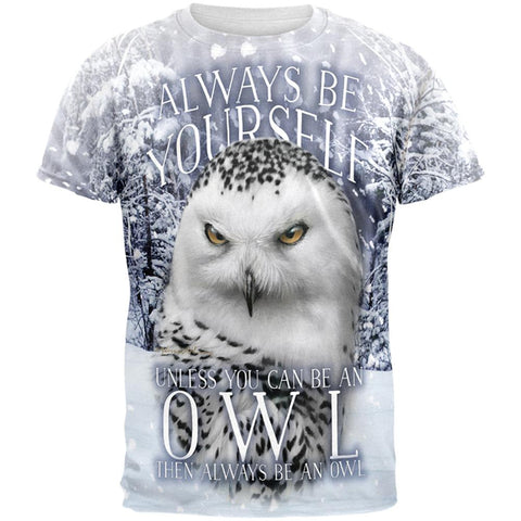 Always Be Yourself Unless Snowy Winter Owl All Over Mens T Shirt