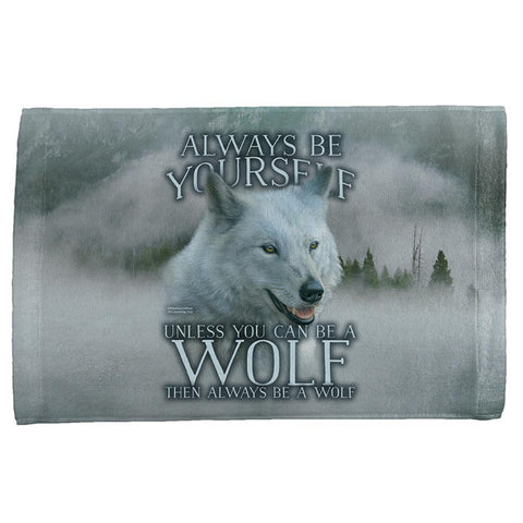 Always Be Yourself Unless White Wolf All Over Hand Towel
