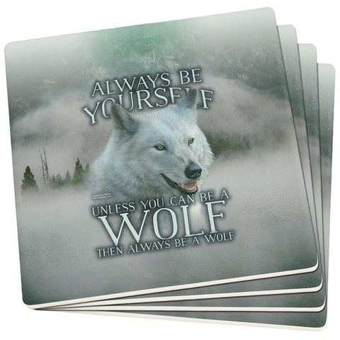 Always Be Yourself Unless White Wolf Set of 4 Square Sandstone Coasters