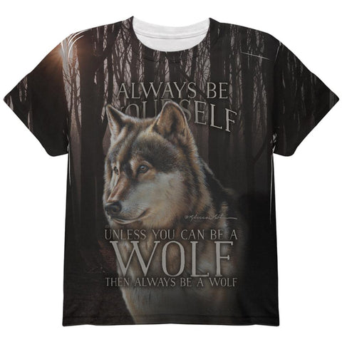 Always Be Yourself Unless Timber Wolf All Over Youth T Shirt
