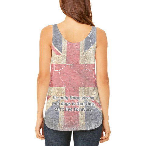 English Bulldog Union Jack Flag Live Forever Juniors Flowy Side Slit Tank Top
