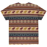 Autumn Moose Adirondack Pattern All Over Youth T Shirt
