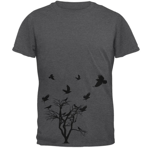 Crow Raven Flying Winter Tree Mens T Shirt