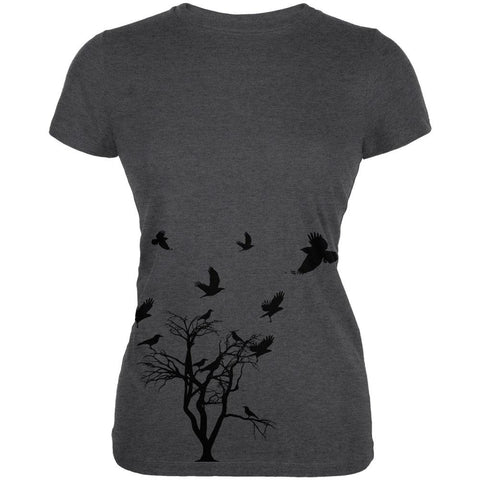 Crow Raven Flying Winter Tree Juniors Soft T Shirt