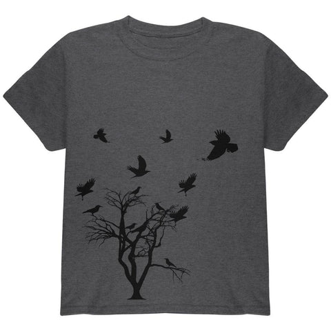 Crow Raven Flying Winter Tree Youth T Shirt