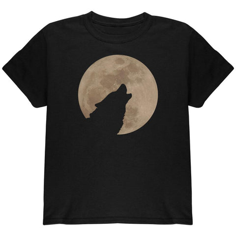 Wolf Howling Moon Silhouette Youth T Shirt