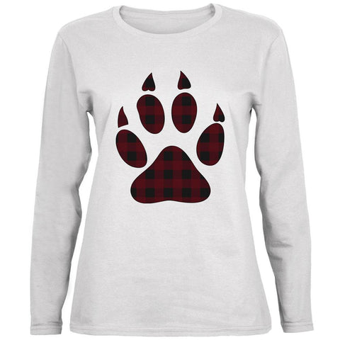 Autumn Buffalo Plaid Bear Claw Paw Ladies' Relaxed Jersey Long-Sleeve Tee