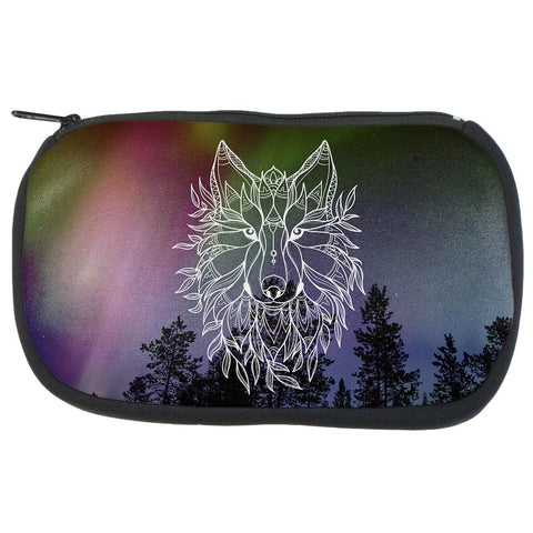 Wolf Northern Lights Night Line Art Art Supplies Bag