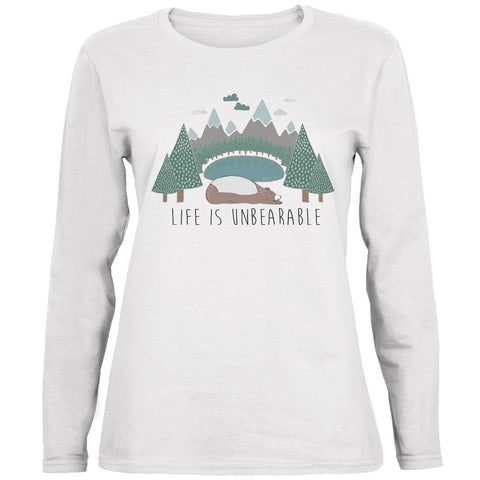 Autumn Life is Unbearable Bear Pun Ladies' Relaxed Jersey Long-Sleeve Tee