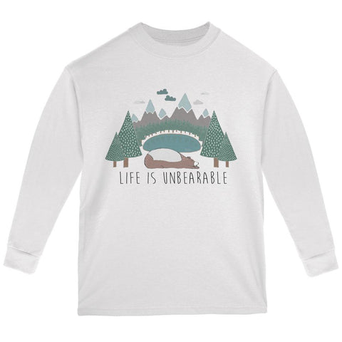 Autumn Life is Unbearable Bear Pun Youth Long Sleeve T Shirt