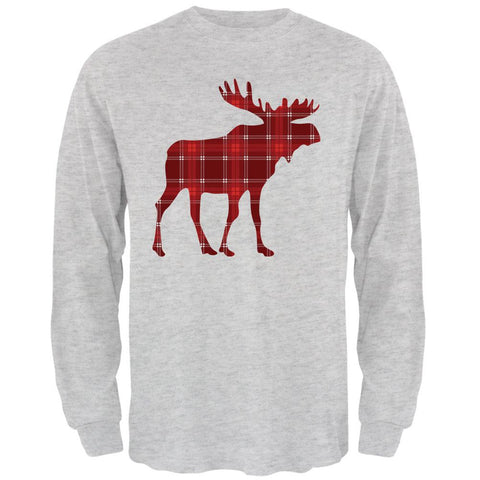 Autumn Plaid Moose Mens Long Sleeve T Shirt