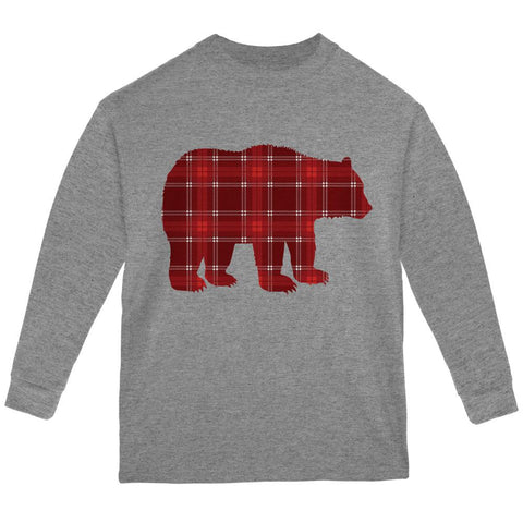 Autumn Plaid Bear Youth Long Sleeve T Shirt