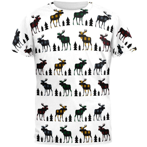 Autumn Plaid Moose on the Loose Pattern All Over Mens T Shirt