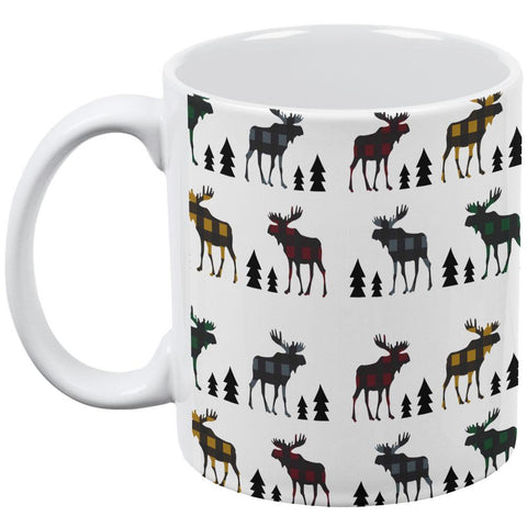 Autumn Plaid Moose on the Loose Pattern All Over Coffee Mug