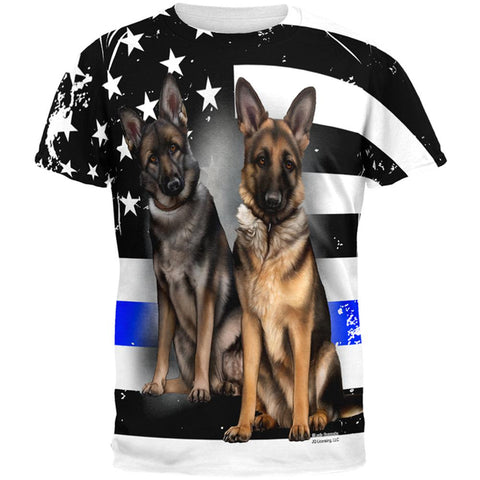 Thin Blue Line K9 Unit German Shepherd Live Forever All Over Mens T Shirt