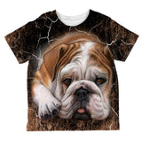 English Bulldog Live Forever All Over Toddler T Shirt