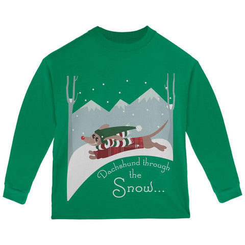 Christmas Dachshund Dashing Through the Snow Toddler Long Sleeve T Shirt