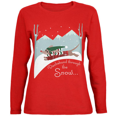 Christmas Dachshund Dashing Through the Snow Womens Long Sleeve T Shirt