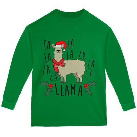Christmas Fa La Llama Youth Long Sleeve T Shirt