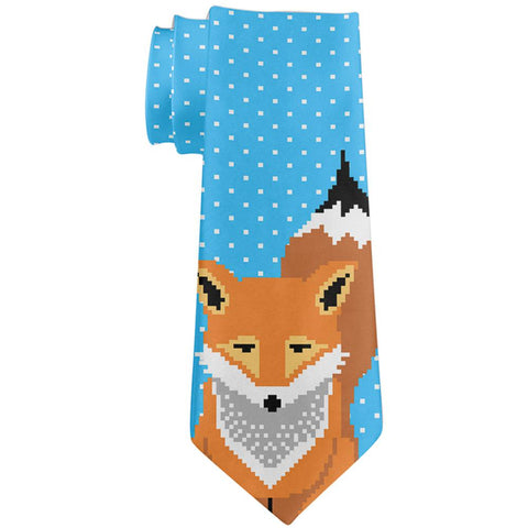 Winter Pixelated Fox All Over Neck Tie