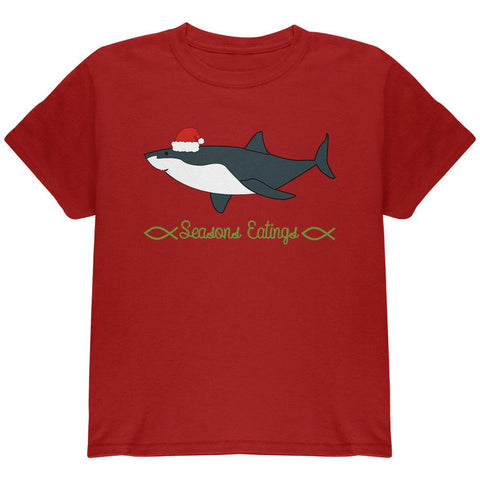 Christmas Shark Seasons Greetings Funny Pun Youth T Shirt
