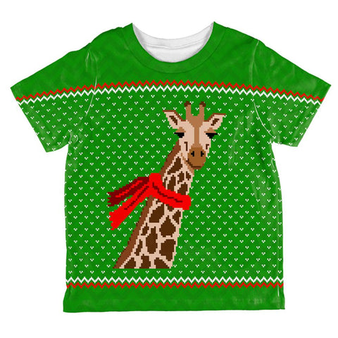 Ugly Christmas Sweater Big Giraffe Scarf All Over Toddler T Shirt
