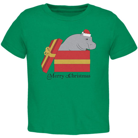 Merry Christmas Hippo Hippopotamus Cute Toddler T Shirt