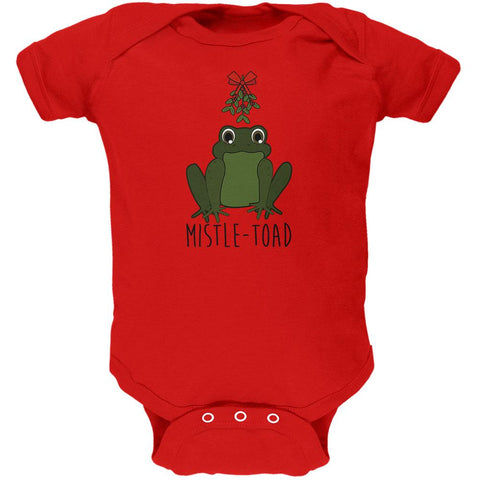 Christmas Mistletoe Toad Funny Pun Soft Baby One Piece