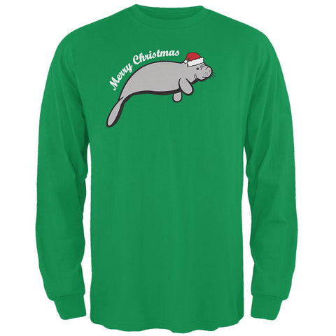 Merry Christmas Manatee Floaty Potato Mens Long Sleeve T Shirt