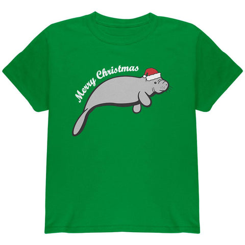 Merry Christmas Manatee Floaty Potato Youth T Shirt