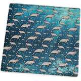 Christmas Manatee Floaty Potato Pattern Square Sandstone Coaster
