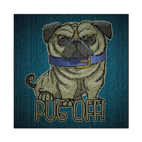 Pug Off Funny Denim Puppy Square Decal Sticker