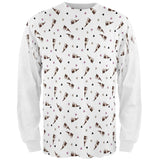 Retro Ferret Pattern All Over Mens Long Sleeve T Shirt