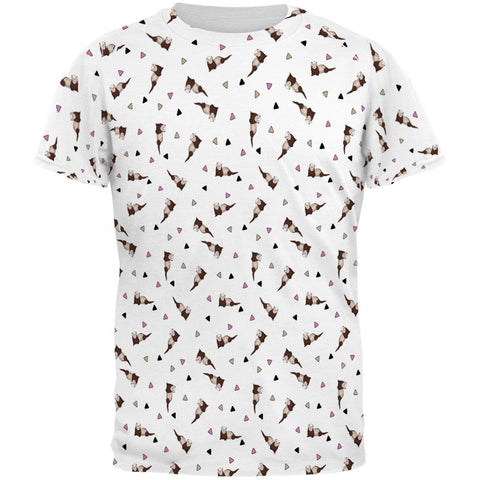 Retro Ferret Pattern All Over Mens T Shirt