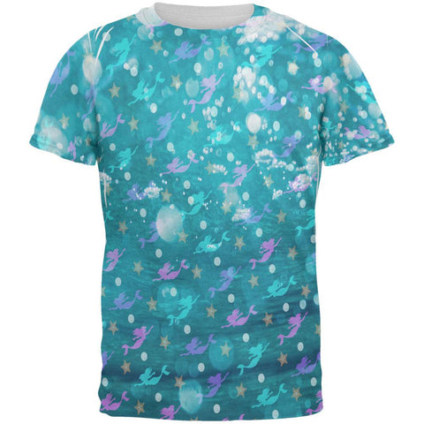 Mermaids Pearls and Starfish Pattern All Over Mens T Shirt