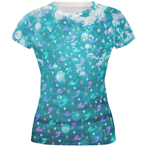 Mermaids Pearls and Starfish Pattern All Over Juniors T Shirt