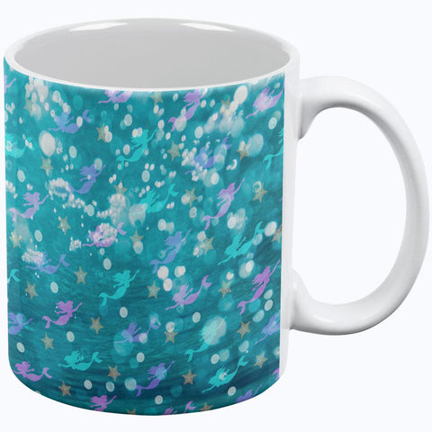 Mermaids Pearls and Starfish Pattern All Over Coffee Mug