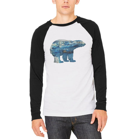 Polar Bear Iceberg Snow Caps Mens Long Sleeve Raglan T Shirt